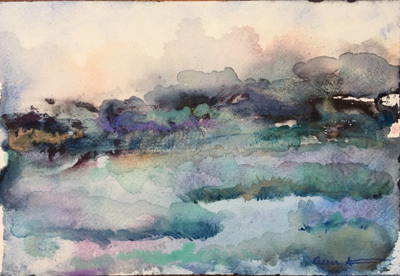 watercolor abstract landscape