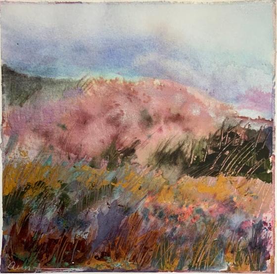 Flowering Tree Hillside by Ann Stretton